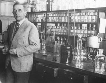 Dr. Otto Warburg in his laboratory